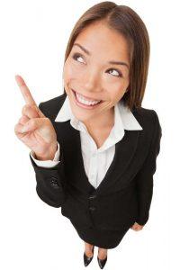 juridische documenten Vrouw met wijzende vinger